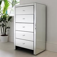 Large tallboy 5 drawer mirrored chest
