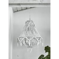 Beaded Wooden Chandelier in White by Out There Interiors