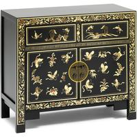 Oriental decorated black sideboard by The Nine Schools