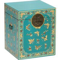 Oriental decorated blue trunk by The Nine Schools