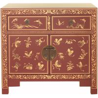 Red Gilt Decorated Medium Classic Chinese Sideboard
