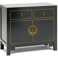Qing black and gilt medium sideboard by The Nine Schools