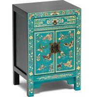 Oriental decorated blue small cabinet by The Nine Schools