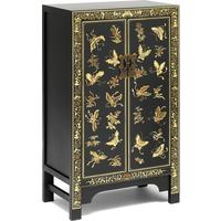 Oriental decorated black medium cabinet by The Nine Schools
