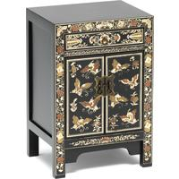 Oriental decorated black small cabinet by The Nine Schools