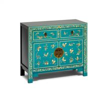 Oriental decorated blue sideboard by The Nine Schools