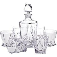 Bohemia Quadro Decanter With Six Glasses Set