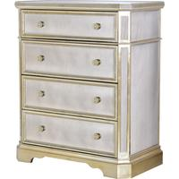 Antique Mirrored Chest With Champagne Silver Trim