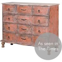 Distressed French Chest In Red