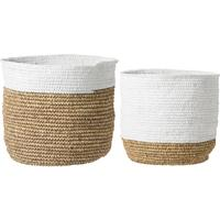 Baskets in Natural Raffia with White by Out There Interiors