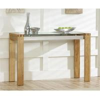 Utah oak and glass console table