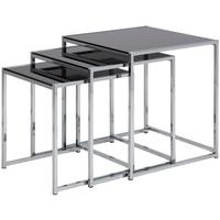 Cross Modern Nest of Tables Black Glass Top Chrome Frame