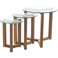 Osaki Modern Nest of 3 Tables in Oak with Glass Tops by Icona Furniture