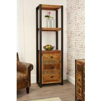 Shoreditch Alcove Bookcase Three Drawers Reclaimed Wood