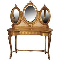 Triple Mirror Dressing Table in Gold