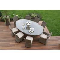 Round Weave Oval Dining Set - 2 Sizes