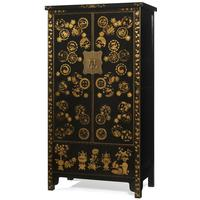 Gold Decorated Wedding Cabinet in Black Lacquer