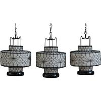 Wire and Canvas Lantern - White Circular by Shimu