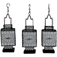 Wire and Canvas Lantern - White Square by Shimu