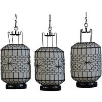 Wire and Canvas Lantern - White Cylindrical by Shimu