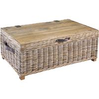 Washed Rattan Storage Coffee Table