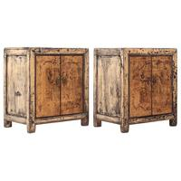 2 x Distressed Cream Bedside Cabinets