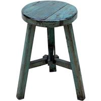 Round Stool, Blue Lacquer by Shimu
