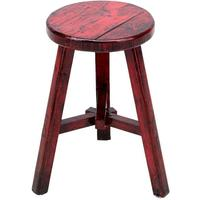 Round Stool, Red Lacquer by Shimu
