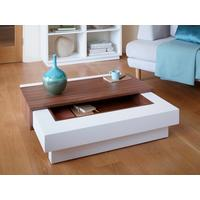 White Matt Coffee table with Walnut Accent - Marlow range
