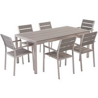 Vernio Aluminium and Poly Wood Outdoor Dining Set with 6