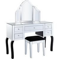 Deco Dressing Table Set Bevel Mirrored with 5 Drawers