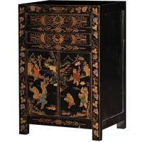 Chinese Bedside Table Black Painted