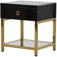 Brass and Black Glass Bedside Table Contemporary Design