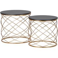 Pair of Round Side Tables in Gold by Out There Interiors