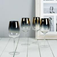 Gold Plated Wine Glasses Long Stemmed - Set of Four