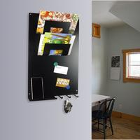 Vertical 3 In 1 Magnetic Memo Board,letter & Key Holder Black