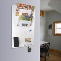 Vertical 3 In 1 Magnetic Memo Board,letter & Key Holder White by The Metal House
