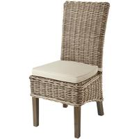 Grey Wash High Back Rattan Dining Chair with Cushion