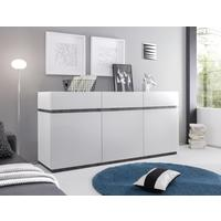REX Three Door/Three Drawer Sideboard - Matt White/Wenge
