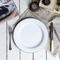 Enamel White Dinner Plate with Grey Trim