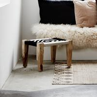 Wood and Cord Footstool Ethnic Design