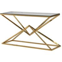 Double Pyramid Console Table Contemporary Metal and Glass