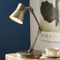 Panna Industrial Adjustable Table Lamp in Brushed Iron