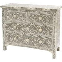 Ethnic Bone Inlay Four Drawer Chest
