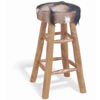 Mohawk Tall Round Goat Hide Bar Stool with Rustic Wood Base
