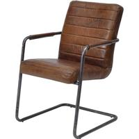 2 x Rodeo Ribbed Brown Leather Dining Chairs Urban Style