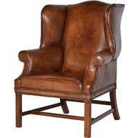 Italian Vintage Leather Wing Chair by The Orchard