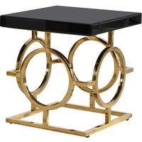 Glass Topped Gold Circles Side Table