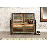 Shoreditch Rustic Monks Bench Reclaimed Wood