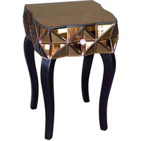 Triangles Bronze Mirrored Bedside Table Glass Top